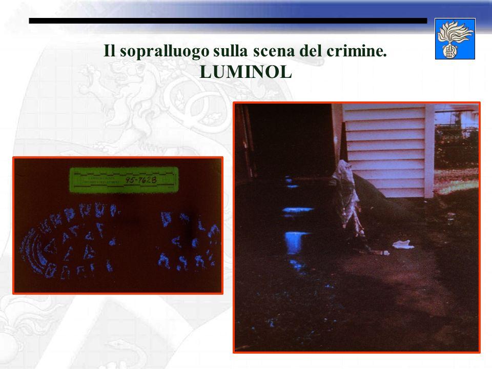 Il sopralluogo sulla scena del crimine. LUMINOL