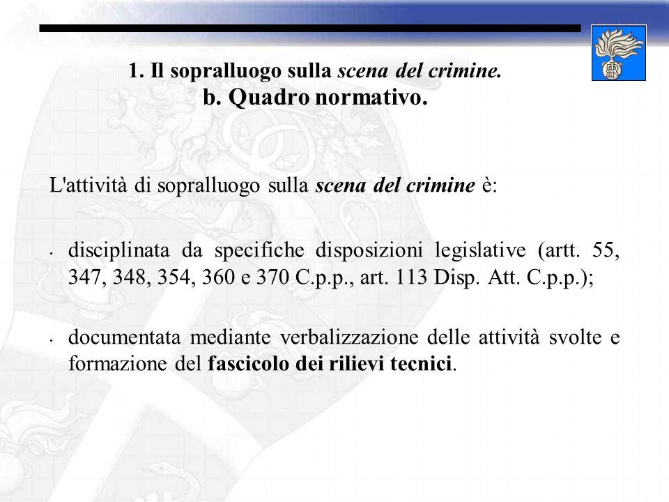 1. Il sopralluogo sulla scena del crimine. b. Quadro normativo.