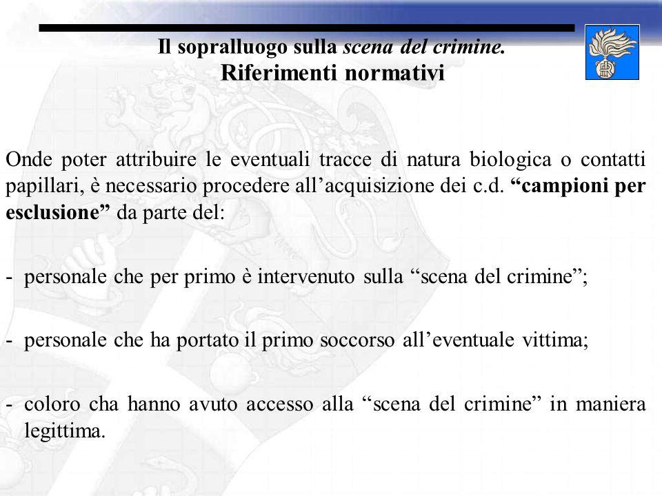 Il sopralluogo sulla scena del crimine. Riferimenti normativi
