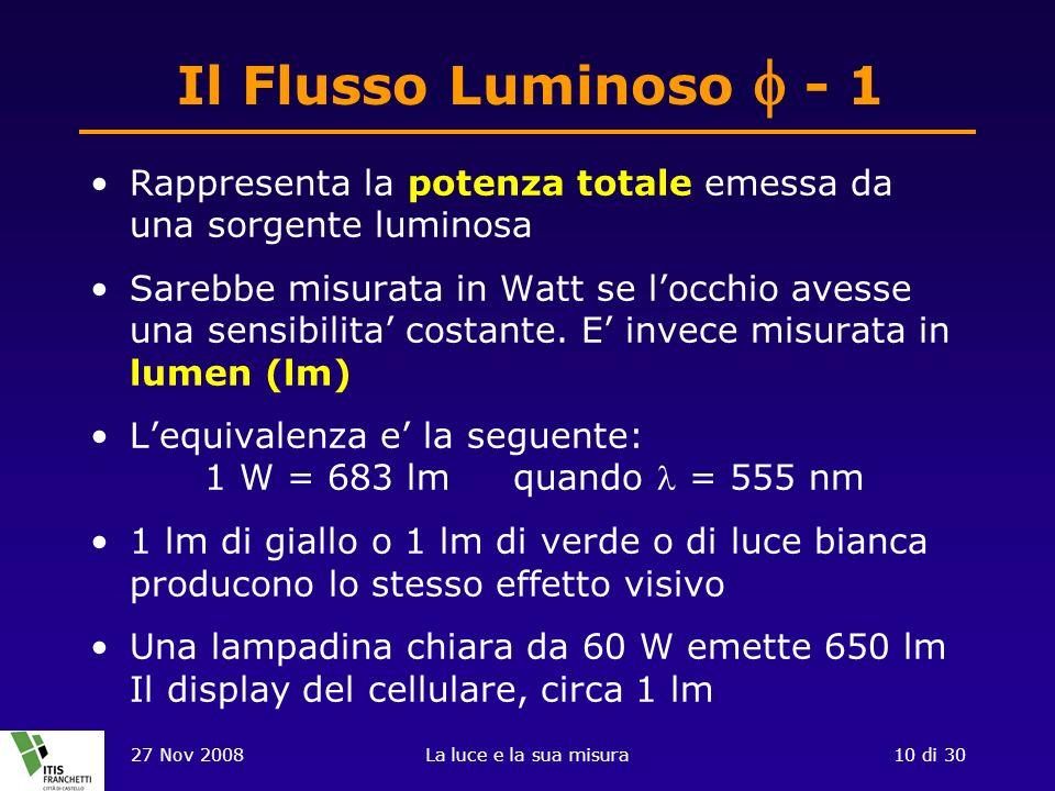 Il Flusso Luminoso f - 1 Rappresenta la potenza totale emessa da una sorgente luminosa.