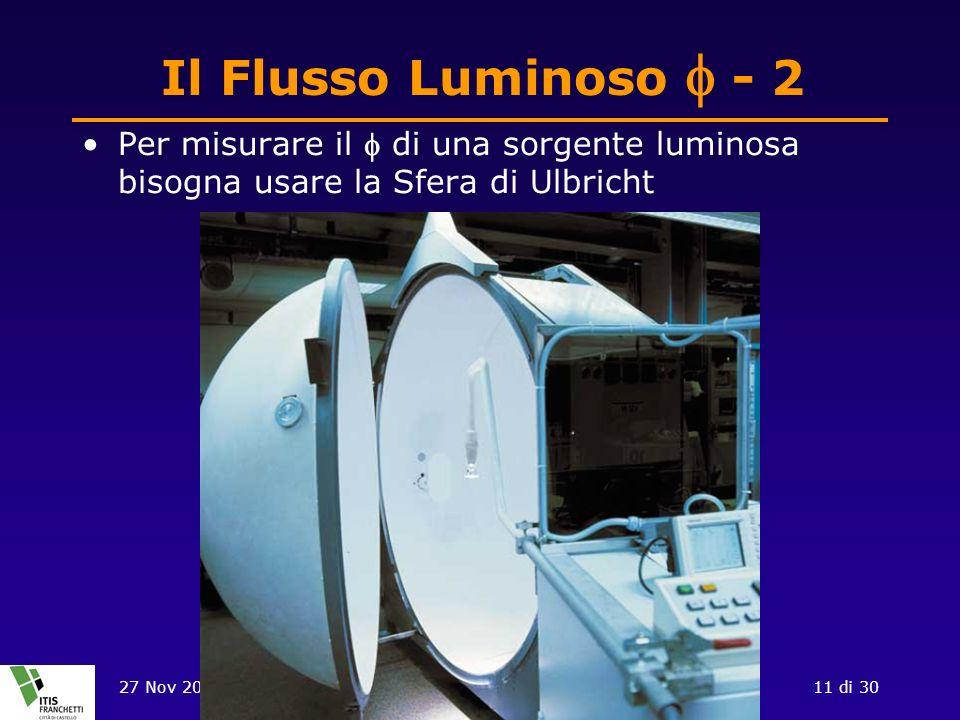 Il Flusso Luminoso f - 2 Per misurare il f di una sorgente luminosa bisogna usare la Sfera di Ulbricht.