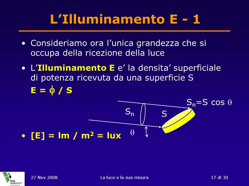 L'Illuminamento E - 1 Consideriamo ora l'unica grandezza che si occupa della ricezione della luce.