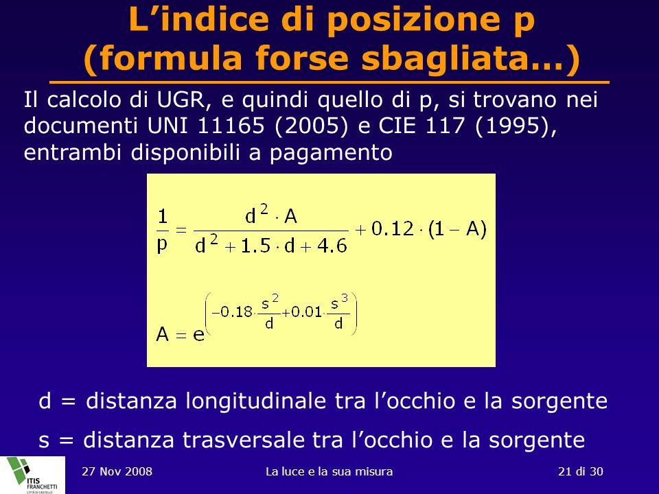 L'indice di posizione p (formula forse sbagliata…)