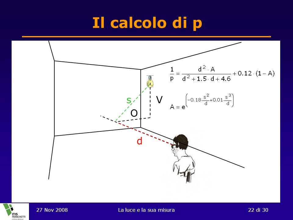 Il calcolo di p V O d s 27 Nov 2008 La luce e la sua misura