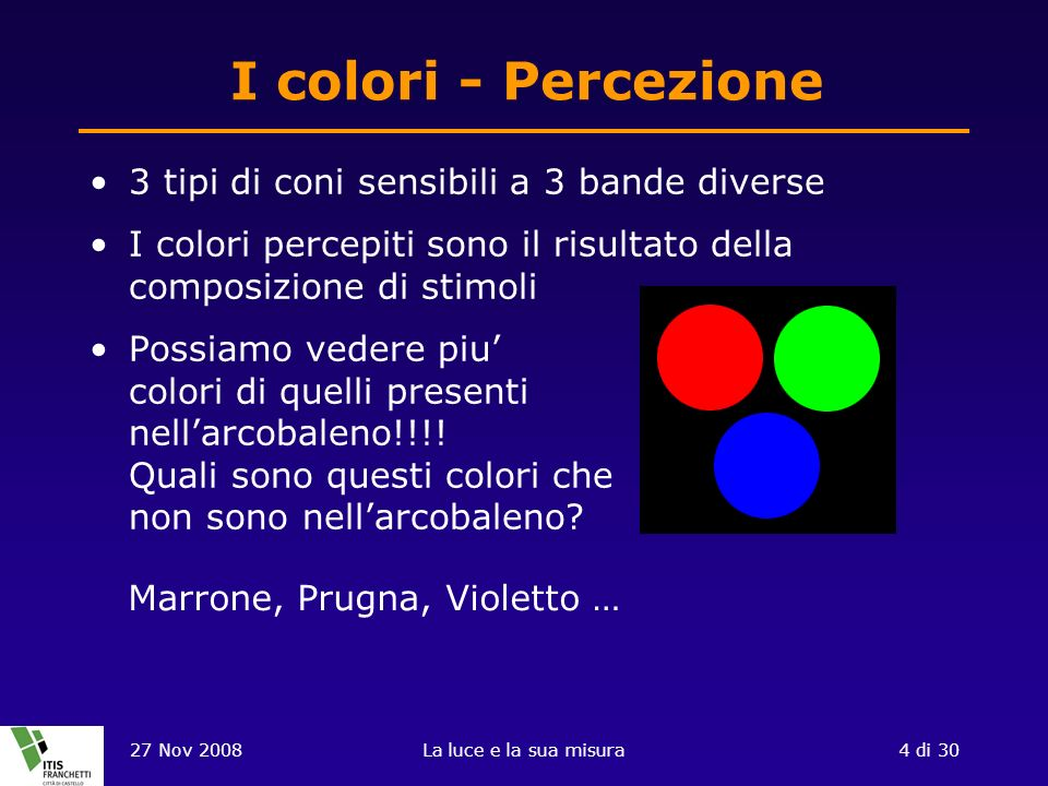 I colori - Percezione 3 tipi di coni sensibili a 3 bande diverse