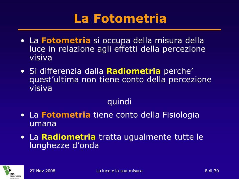 La Fotometria La Fotometria si occupa della misura della luce in relazione agli effetti della percezione visiva.