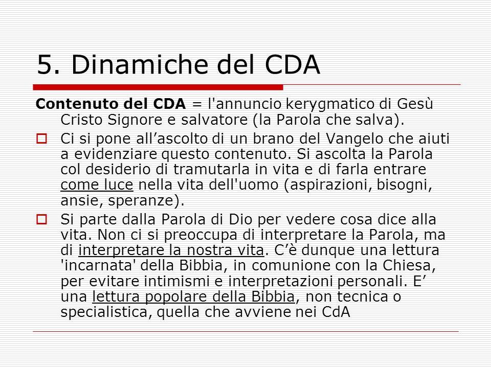 5. Dinamiche del CDA Contenuto del CDA = l annuncio kerygmatico di Gesù Cristo Signore e salvatore (la Parola che salva).