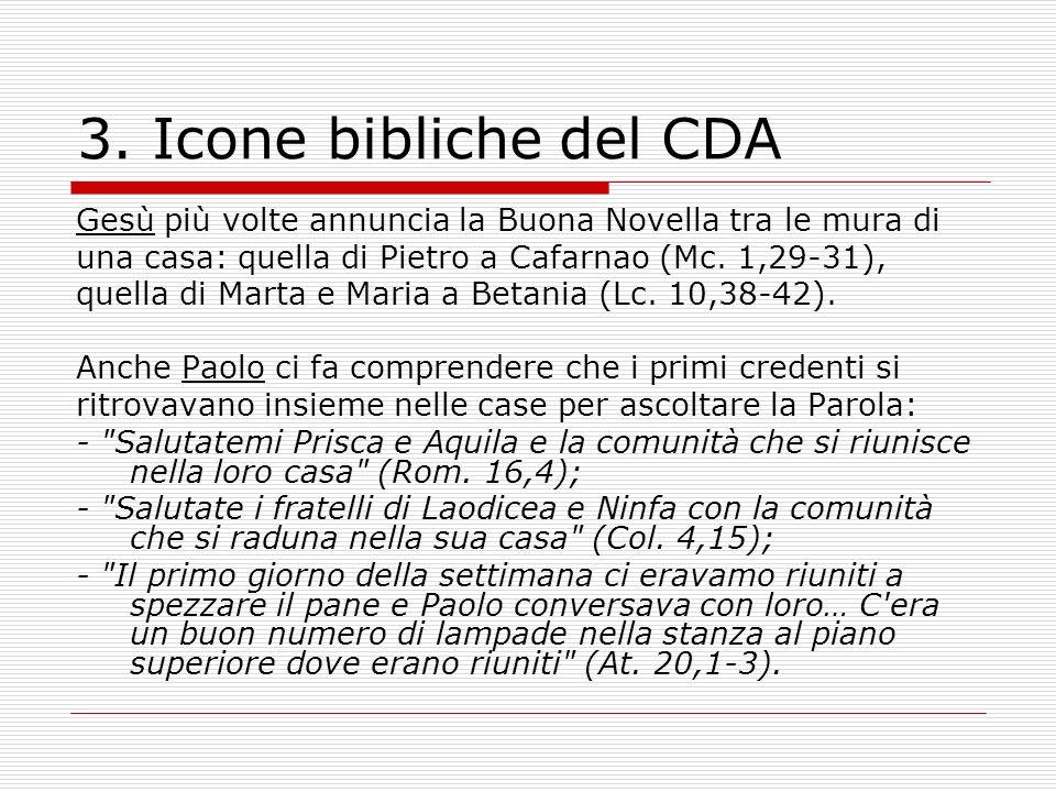 3. Icone bibliche del CDA Gesù più volte annuncia la Buona Novella tra le mura di. una casa: quella di Pietro a Cafarnao (Mc. 1,29-31),