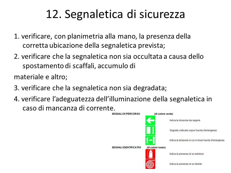 12. Segnaletica di sicurezza