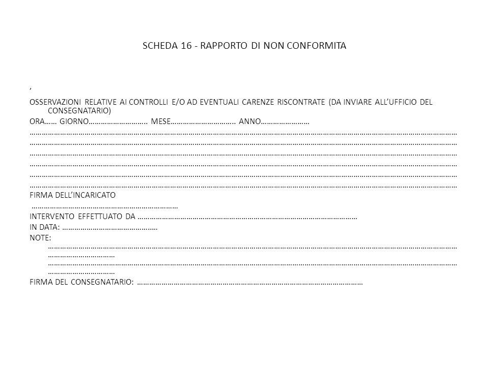 SCHEDA 16 - RAPPORTO DI NON CONFORMITA
