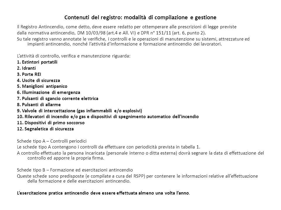 Contenuti del registro: modalità di compilazione e gestione