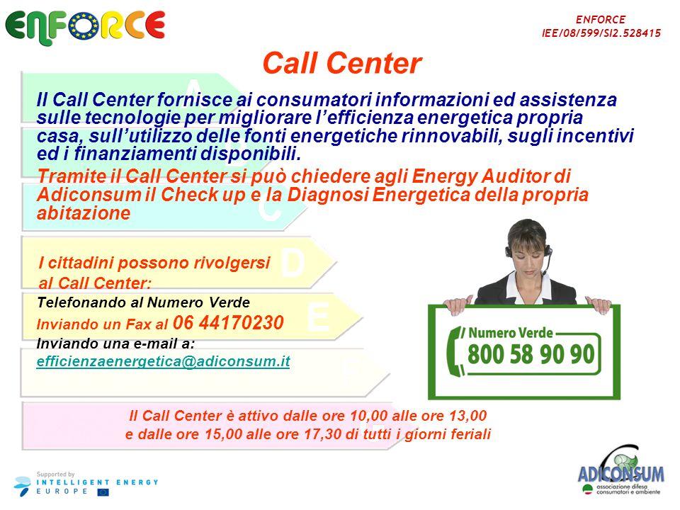Il Call Center è attivo dalle ore 10,00 alle ore 13,00