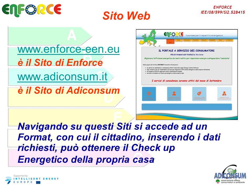 Sito Webwww.enforce-een.eu. è il Sito di Enforce. www.adiconsum.it. è il Sito di Adiconsum. Navigando su questi Siti si accede ad un.