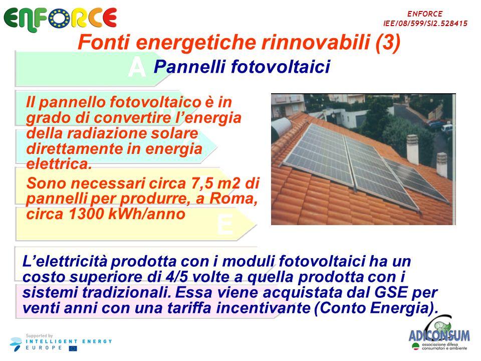 Fonti energetiche rinnovabili (3) Pannelli fotovoltaici
