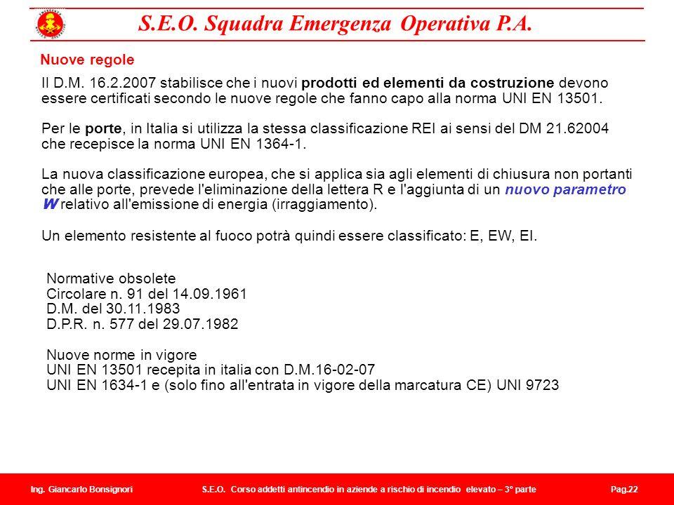 UNI EN 13501 recepita in italia con D.M.16-02-07