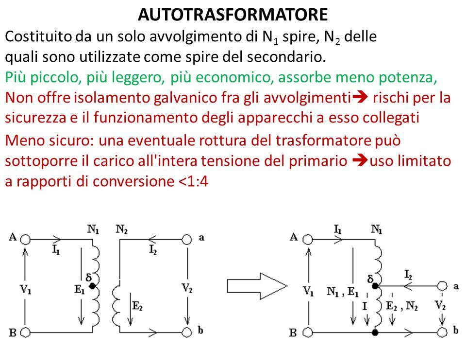 AUTOTRASFORMATORE Costituito da un solo avvolgimento di N1 spire, N2 delle. quali sono utilizzate come spire del secondario.