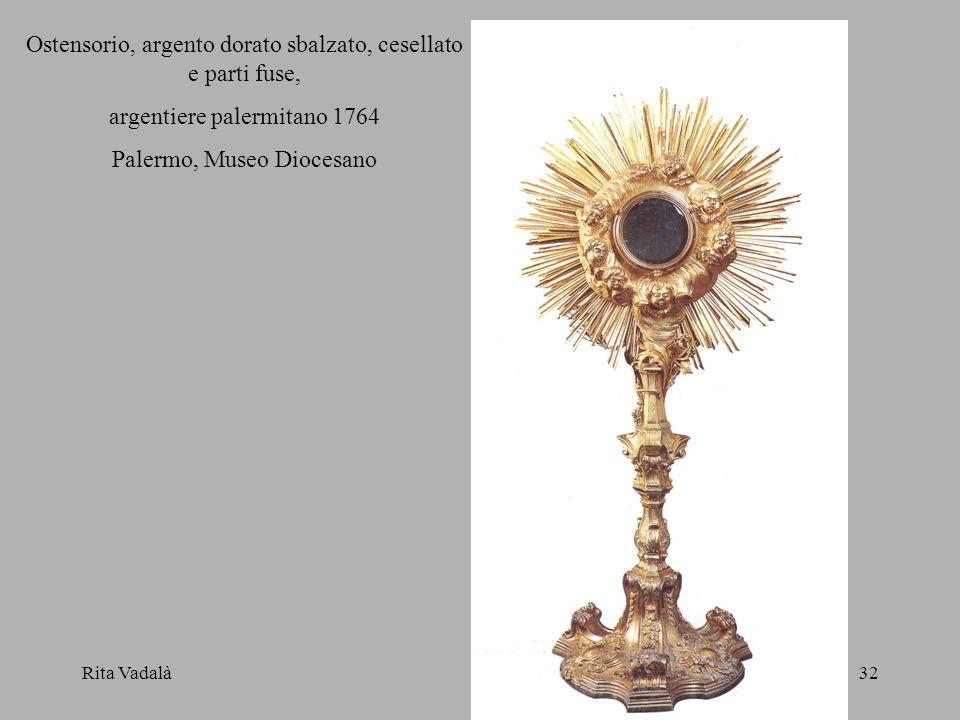 Ostensorio, argento dorato sbalzato, cesellato e parti fuse,