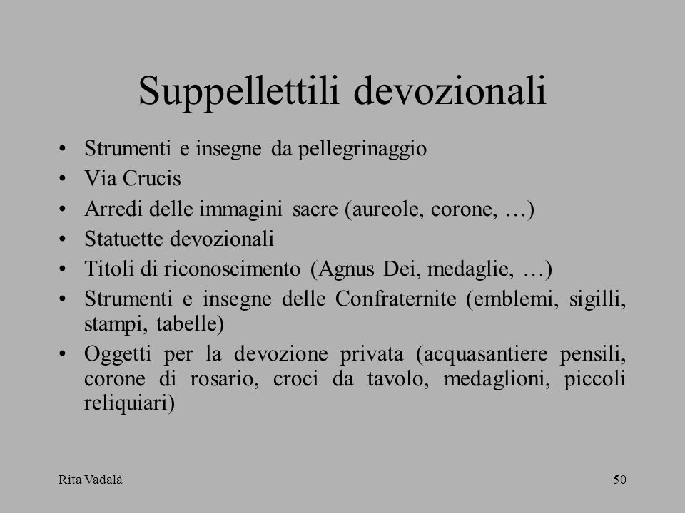 Suppellettili devozionali