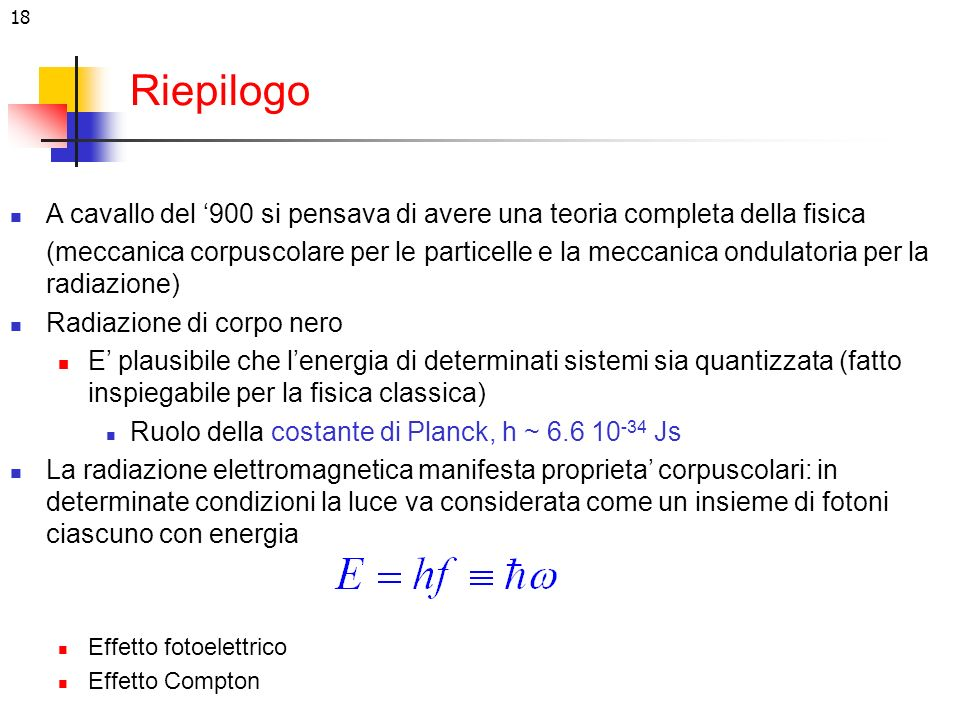RiepilogoA cavallo del '900 si pensava di avere una teoria completa della fisica.