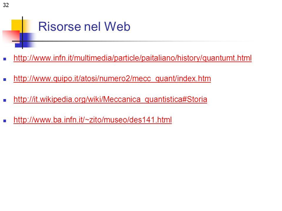 Risorse nel Web http://www.infn.it/multimedia/particle/paitaliano/history/quantumt.html. http://www.quipo.it/atosi/numero2/mecc_quant/index.htm.