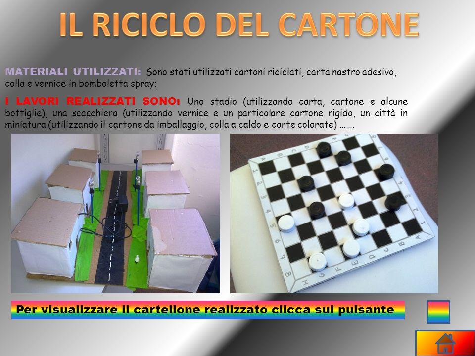 IL RICICLO DEL CARTONE MATERIALI UTILIZZATI: Sono stati utilizzati cartoni riciclati, carta nastro adesivo, colla e vernice in bomboletta spray;