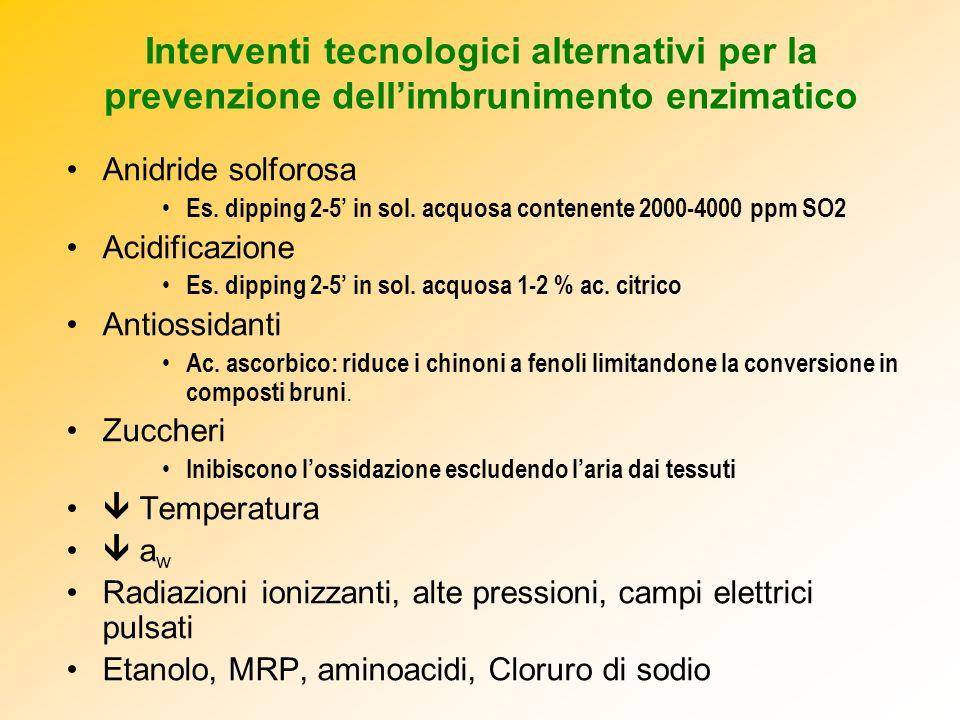 Interventi tecnologici alternativi per la prevenzione dell'imbrunimento enzimatico