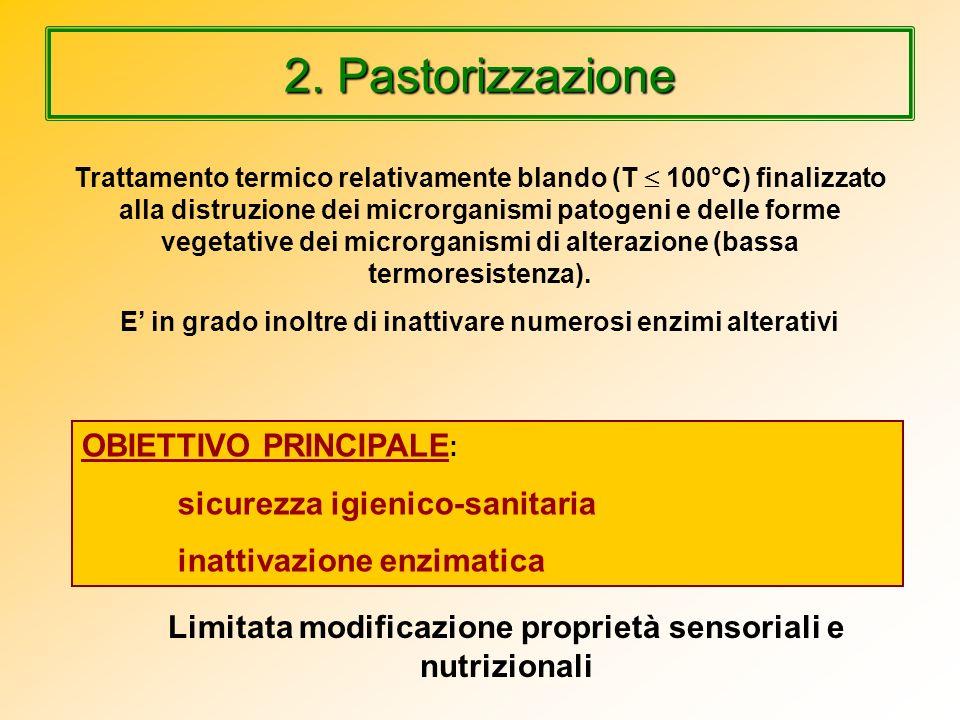 2. Pastorizzazione OBIETTIVO PRINCIPALE: inattivazione enzimatica