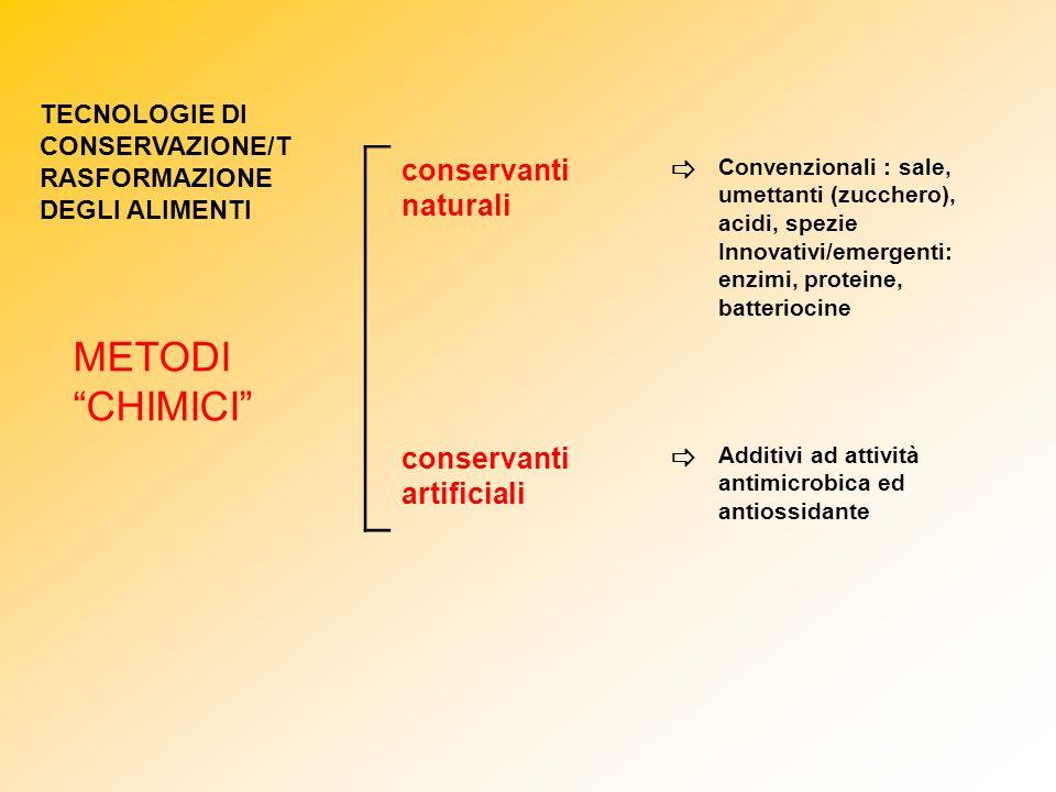 METODI CHIMICI conservanti naturali  conservanti artificiali