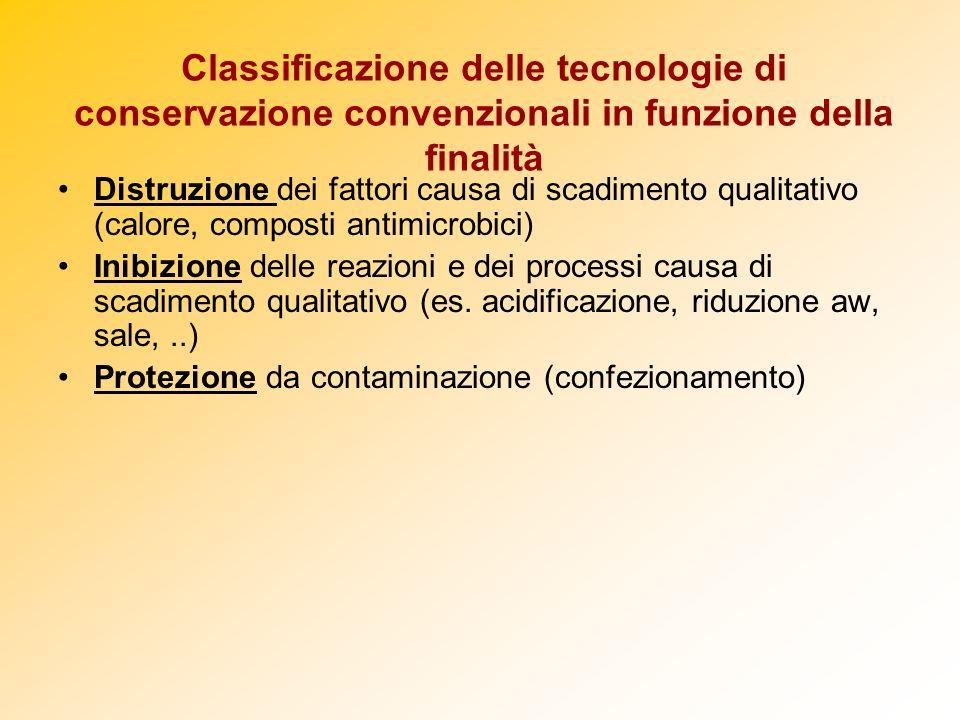Classificazione delle tecnologie di conservazione convenzionali in funzione della finalità