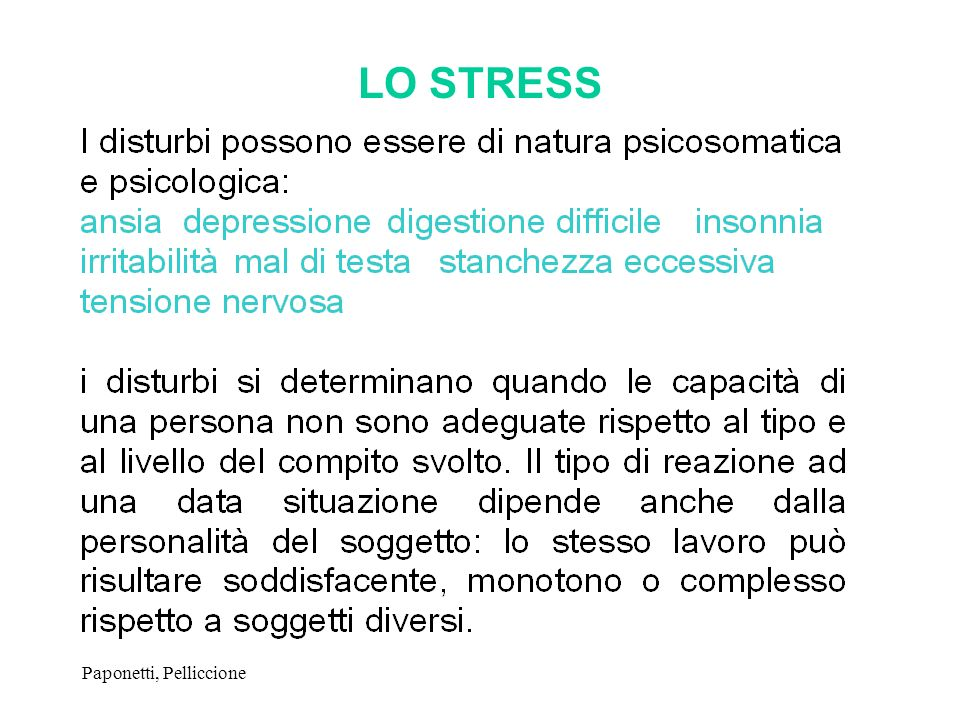 LO STRESS Paponetti, Pelliccione