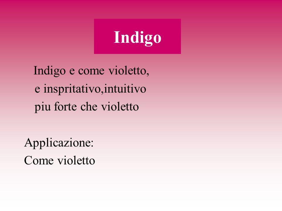 Indigo Indigo e come violetto, e inspritativo,intuitivo