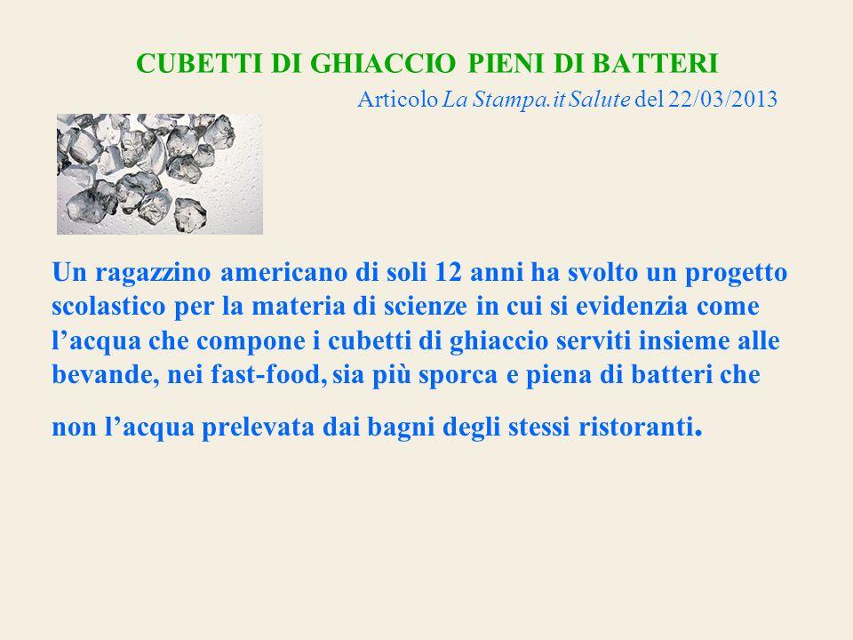 CUBETTI DI GHIACCIO PIENI DI BATTERI Articolo La Stampa