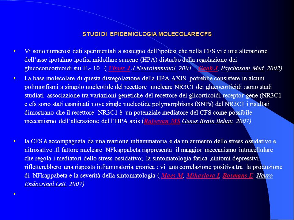 STUDI DI EPIDEMIOLOGIA MOLECOLARE CFS