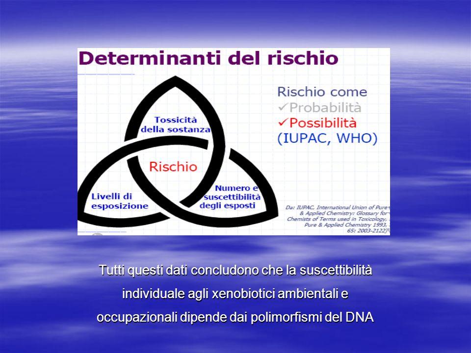 Tutti questi dati concludono che la suscettibilità individuale agli xenobiotici ambientali e occupazionali dipende dai polimorfismi del DNA