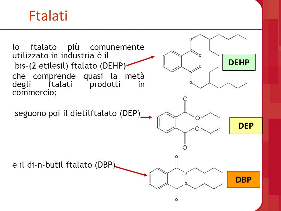 Ftalatilo ftalato più comunemente utilizzato in industria è il. bis-(2 etilesil) ftalato (DEHP)