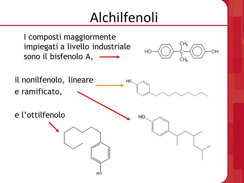 Alchilfenoli I composti maggiormente impiegati a livello industriale sono il bisfenolo A, il nonilfenolo, lineare.
