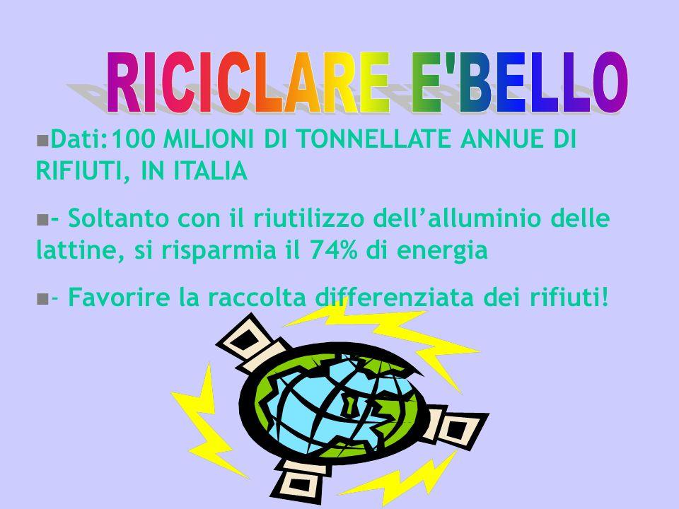 RICICLARE E BELLO Dati:100 MILIONI DI TONNELLATE ANNUE DI RIFIUTI, IN ITALIA.