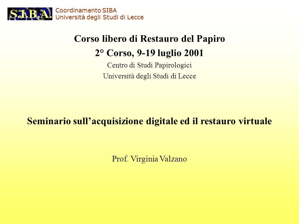 Corso libero di Restauro del Papiro 2° Corso, 9-19 luglio 2001
