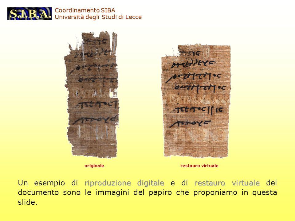 Coordinamento SIBA Università degli Studi di Lecce. originale. restauro virtuale.