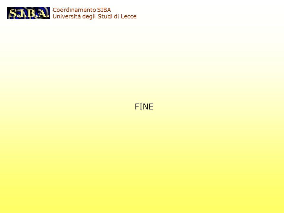 Coordinamento SIBA Università degli Studi di Lecce FINE