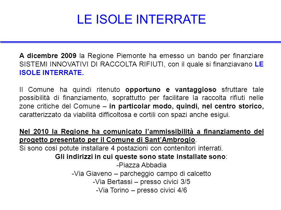 LE ISOLE INTERRATE