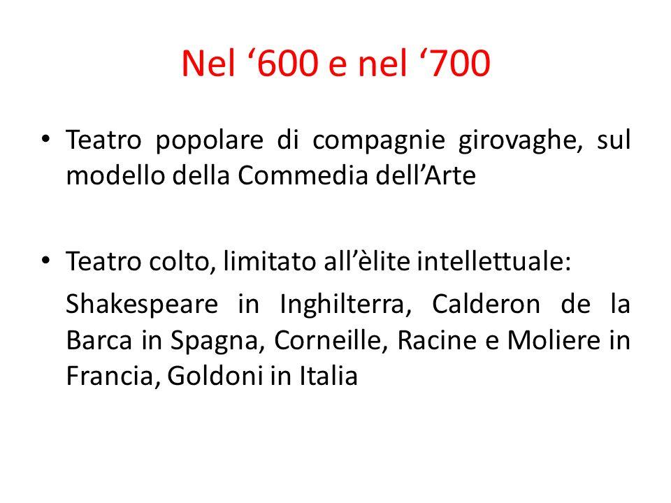 Nel '600 e nel '700 Teatro popolare di compagnie girovaghe, sul modello della Commedia dell'Arte. Teatro colto, limitato all'èlite intellettuale: