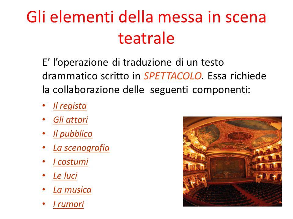 Gli elementi della messa in scena teatrale