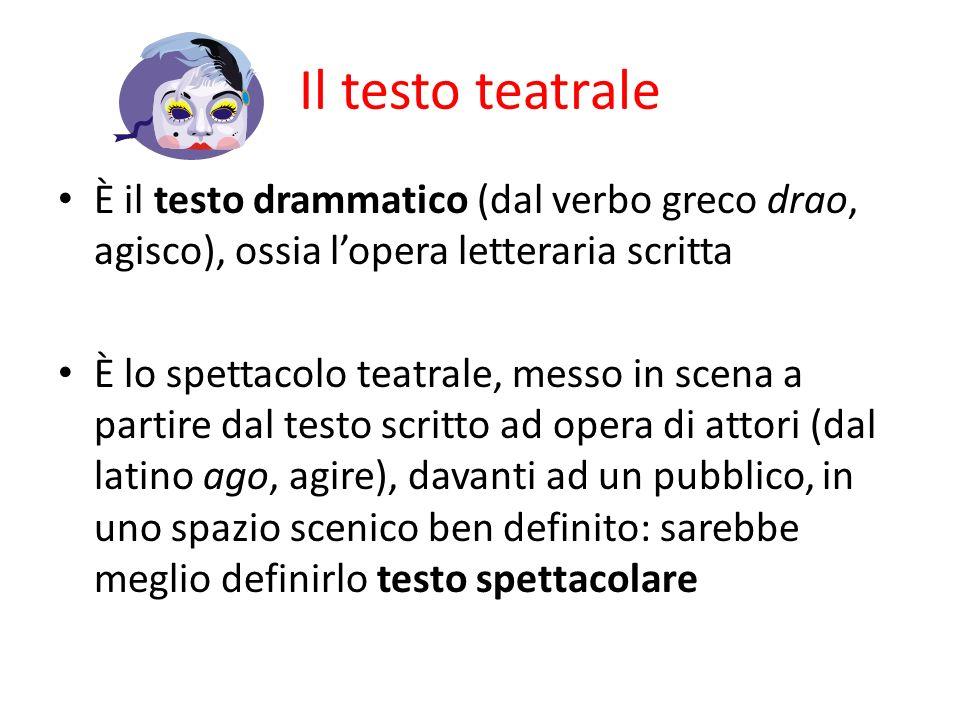 Il testo teatrale È il testo drammatico (dal verbo greco drao, agisco), ossia l'opera letteraria scritta.