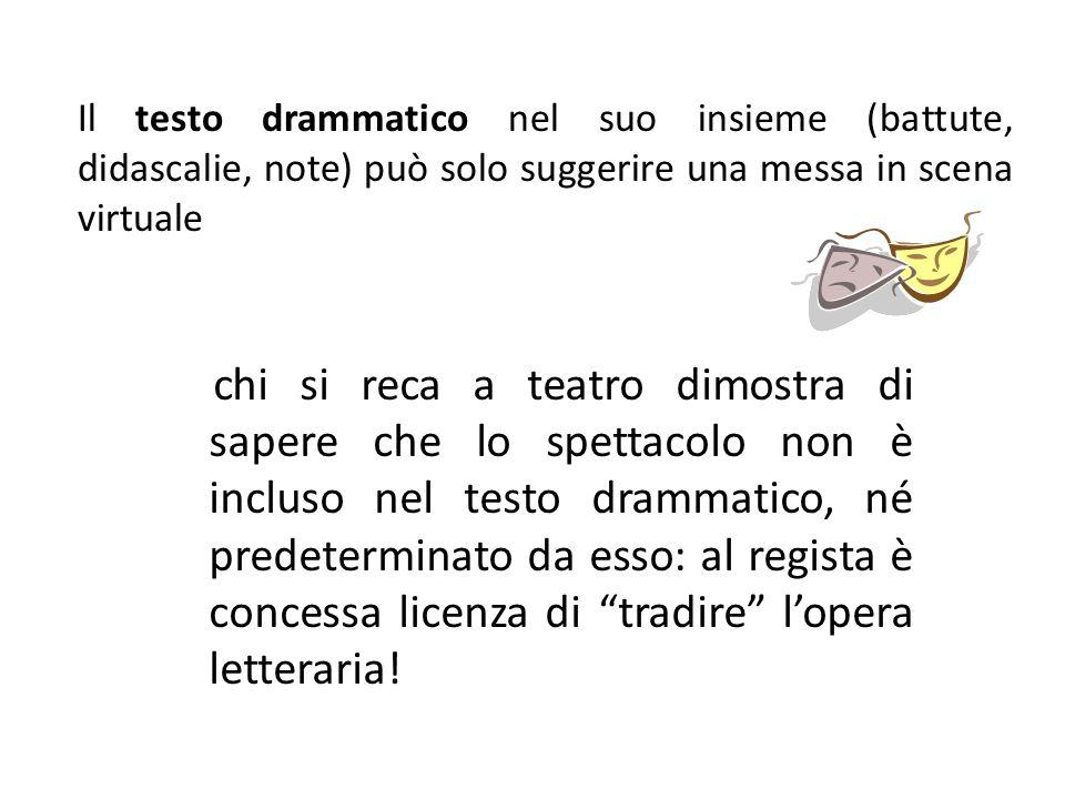 Il testo drammatico nel suo insieme (battute, didascalie, note) può solo suggerire una messa in scena virtuale