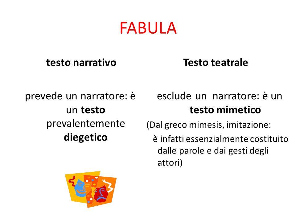 FABULA testo narrativo. Testo teatrale. prevede un narratore: è un testo prevalentemente diegetico.