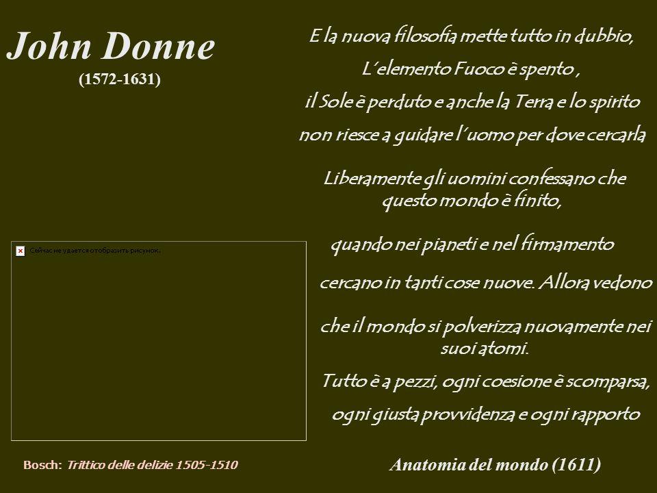 John Donne E la nuova filosofia mette tutto in dubbio,