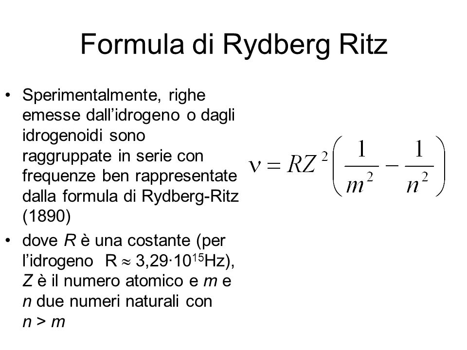 Formula di Rydberg Ritz