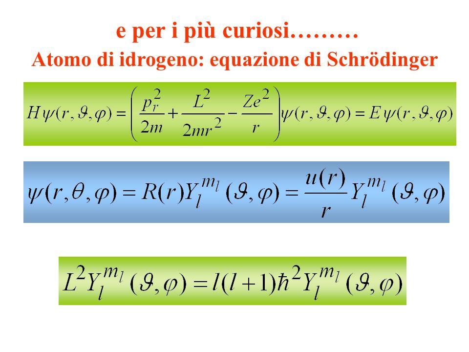 Atomo di idrogeno: equazione di Schrödinger