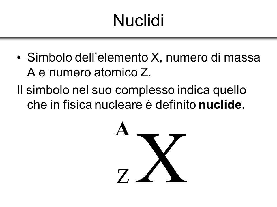 Nuclidi Simbolo dell'elemento X, numero di massa A e numero atomico Z.